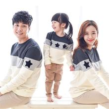 2017 Family Clothing Spring T-shirts Couples Clothing Dad Mon Kids Long Sleeve Stars Cotton T-shirt Family Matching Clothes(China (Mainland))