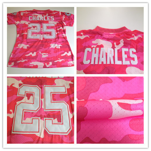 Women 25# Jamaal Charles jersey,pink fashion camo women football jersey,Best quality,Authentic Jersey,Embroidery Logo(China (Mainland))