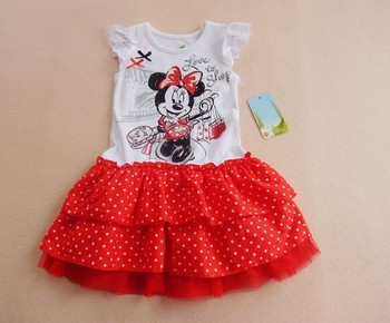 2013 new,girls mickey dress,charming red,90---130,factory outlets/world botton price.clothing for baby