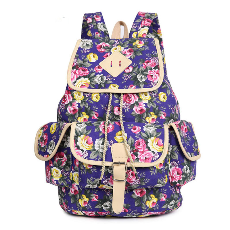 2016 Summer New Fashion Women Backpack Female Floral Canvas Shoulder sports school Bag Flower Printing rucksack for Ladies(China (Mainland))