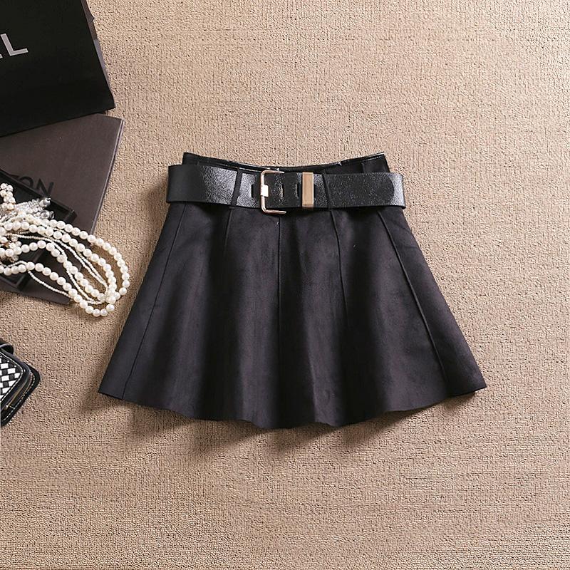 2016 verão mulheres acima do joelho camurça Saia vestido Underskirt Skater saias com cinto de estilo Preppy Faldas Saia Jupe