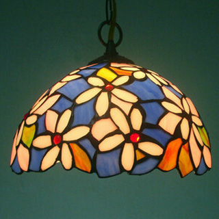 Dia.30CM Tiffany Style Pendant Lamp Shade Flower Design Stained Glass Vintage Light Shade,Free Shipping(China (Mainland))