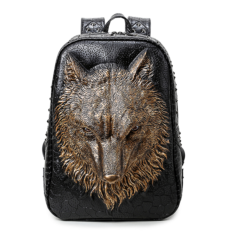new 3 d backpack men and women students leisure travel bag Wolf laptop bag bag<br><br>Aliexpress