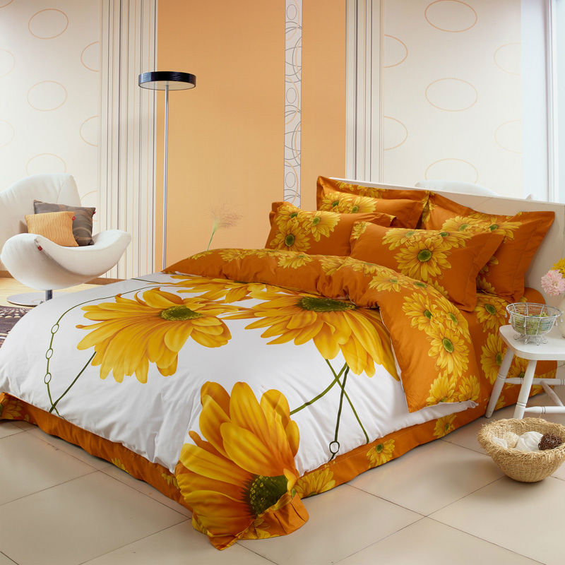 3d Sunflower bedding sets queen king double full size doona duvet cover bedsheet pillowcase 4pc bedclothes 100% Cotton bedlinens(China (Mainland))