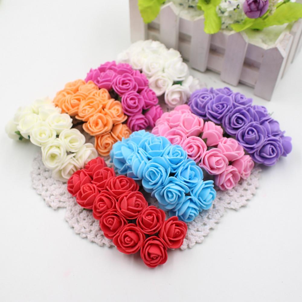 12pcs/lot New Hot 2cm Head Multicolor PE Foam Mini Flower Artificial Rose Flowers Bouquet wedding decorative flowers wreaths(China (Mainland))
