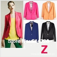 Fashion Women Slim Blazer Coat Casual Jackets , 2014 New Spring Autumn Elegant Fold Sleeve One Button Suit OL Outwear
