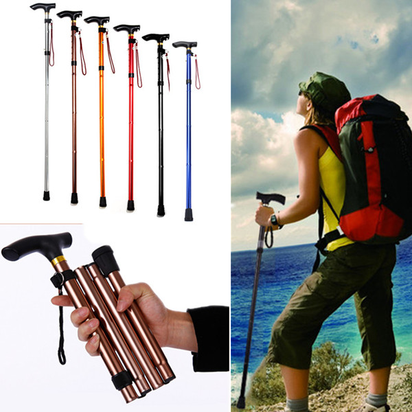 Strong Outdoor Adjustable Folding Lightweight Trekking Poles Hiking Pole Walking Stick Cane Handle Bastones Senderismo(China (Mainland))