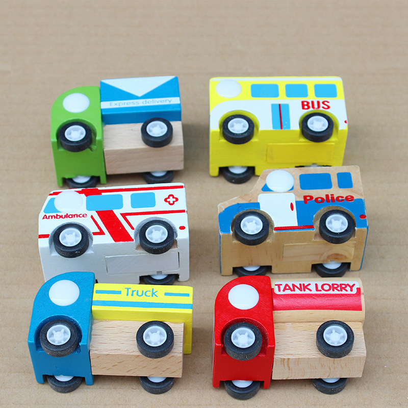 Kid's Soft Wooden Mini Educational Pull back car Toy High quanlity gift for boys(China (Mainland))