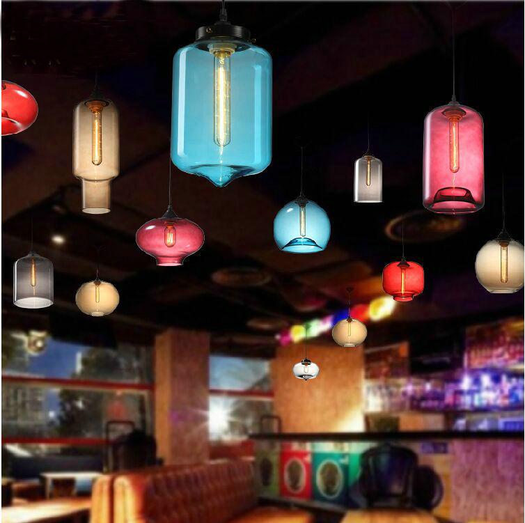 Customized color loft vintage glass coffee bar pendant lamp T80 edison bulbs 110V/220V free shipping(China (Mainland))