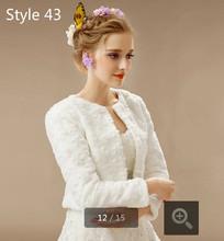 2015 Bride Cape Long-Sleeve Faux Fur Wedding Wrap Ivory Jacket Winter Bridal Shawl Shrug bride wraps best selling(China (Mainland))
