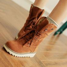A la venta tamaño grande 34-43 lace up botas de invierno para para mantener caliente dulce moda mitad de la pantorrilla botas zapatos de la nieve Z1FLBK-B66(China (Mainland))