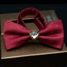 Good Gift Accessories Polyester Solid Color with Rhinestone Wedding or Business Bow Tie Female Neckwear Bowties for Mens Suit