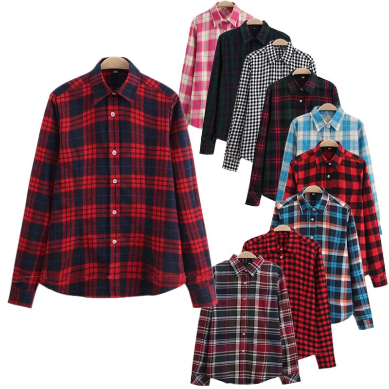 Women Plaid Shirt Long Black Sleeve Cotton Blouse Tee Shirt Femme Top Blazer font b Tartan