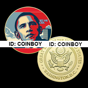 Barack Obama 24K Gold Plated Printed Comemmative Coin BX949(China (Mainland))