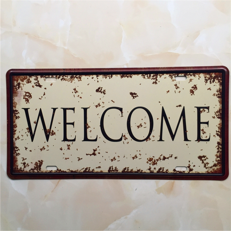 Welcome car plate vintage tin sign bar pub home wall decor for Retro wall art