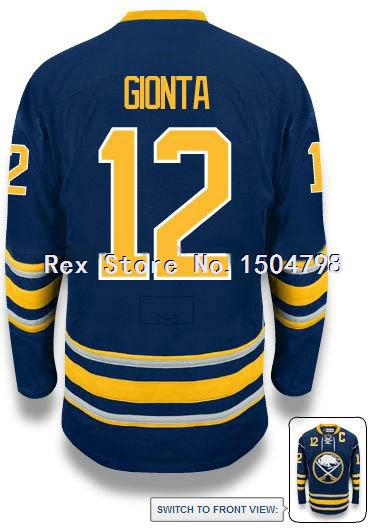 CHEAP Brian Gionta Jersey Men's Buffalo Sabres #12 Ice Hockey Jersey HOME BLUE,Authentic 12 Brian Gionta Sport Jersey,Size 46-56