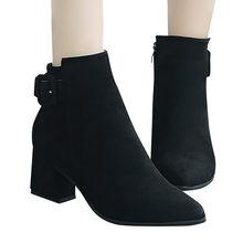 Botas para o inverno 2019 da Festa de Casamento de moda feminina fivela de Cinto Sexy coxa botas de salto alto das mulheres tornozelo botas sapatos # g3(China)