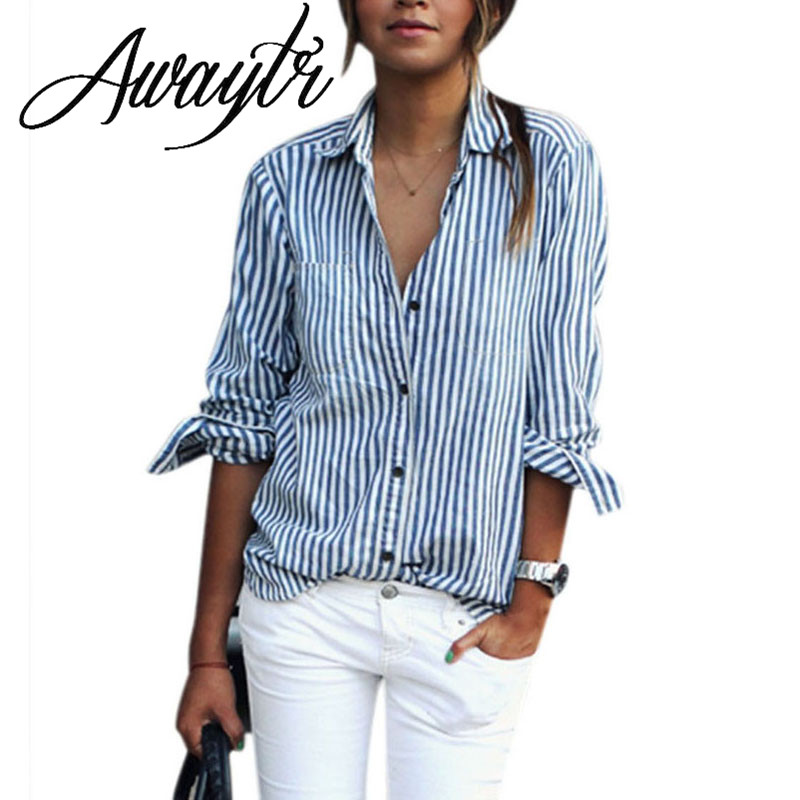 Popular Blue and White Stripe T Shirt Women-Buy Cheap Blue and ...