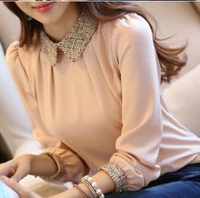 2014 new fashion Korean lady long sleeve lace chiffon shirt peter pan collar lantern sleeve women blouse  size s-2xl 8009(China (Mainland))