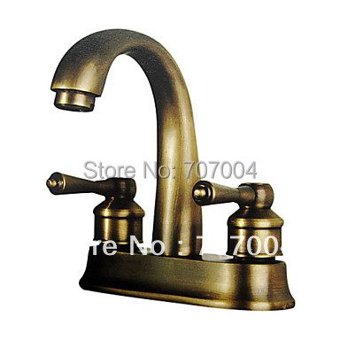 Antique Brass Finish Dual/ Three Hole Bathroom Sink Basin Faucet 4