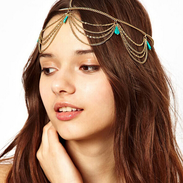 Vestido MultiLayer Gold bijoux Hair Jewelry Tassel Leaves Bindi hair accesories Boho Headband rhinestone headband coroa princesa(China (Mainland))