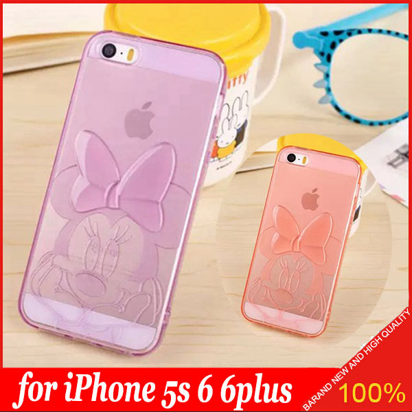Good Smell 3D TPU Soft Transparent Cute Minnie Mouse Case Cover for Apple iPhone 5S 6 6plus Soft Carton Phone Bag Free Shipping(China (Mainland))