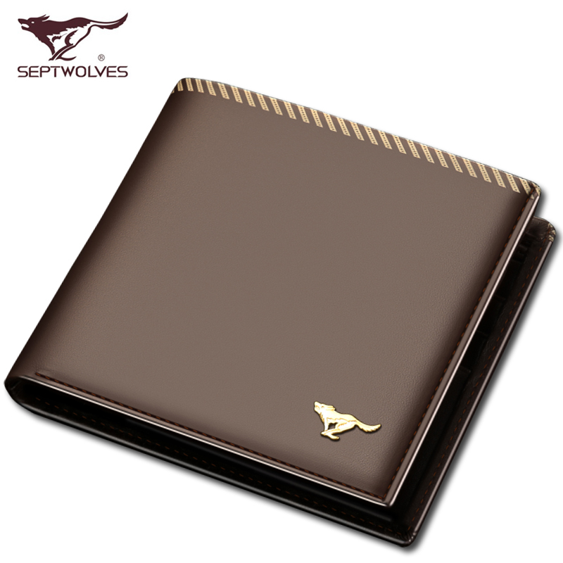 Septwolves men wallet coffee leather wallet short paragraph fashion business casual Korean version card holder wallet<br><br>Aliexpress