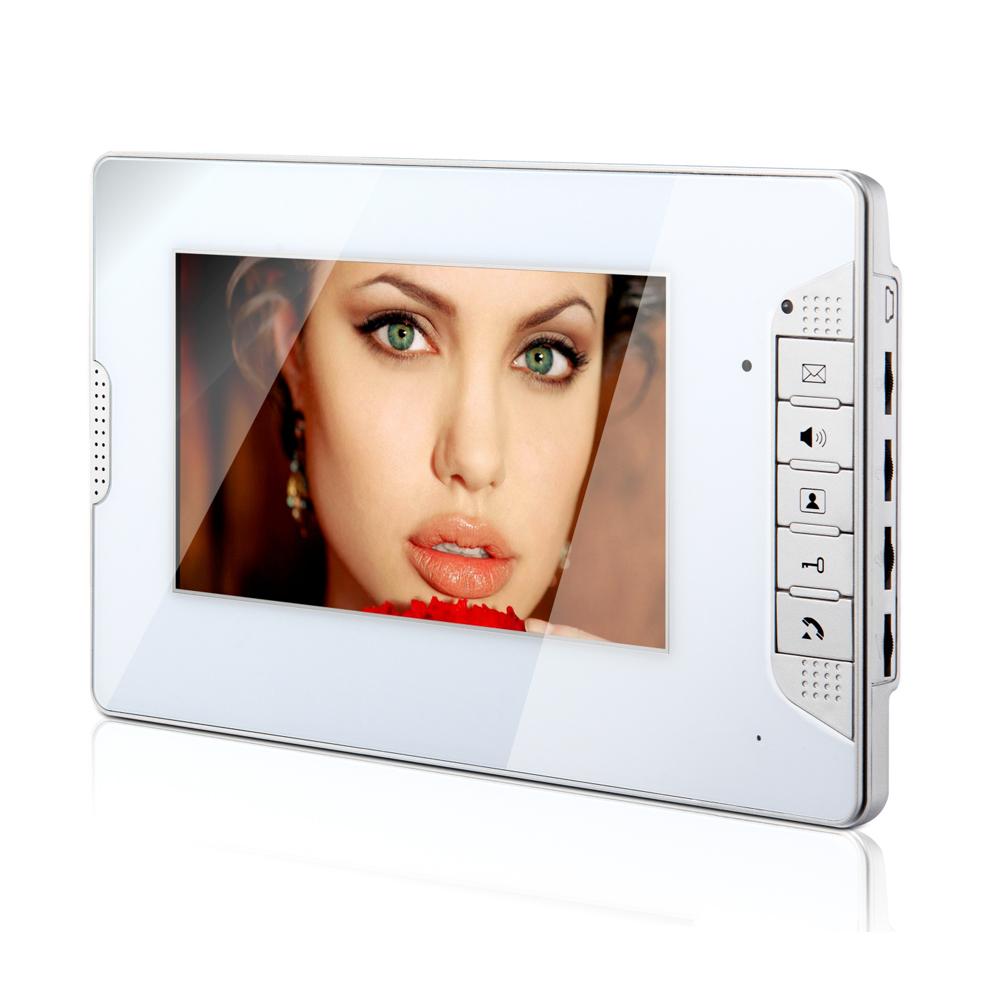 "FREE SHIPPING New 7"" LCD Color Screen Video Door Phone Intercom System White Panel Monitor Unlock / Monitor / Intercom In Stock(China (Mainland))"