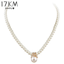 2014 Korean Fashion Full Imitation Pearls Cute Rhinestone Pendant Necklace Hot Sale Jewelry For Women Wholesale M13