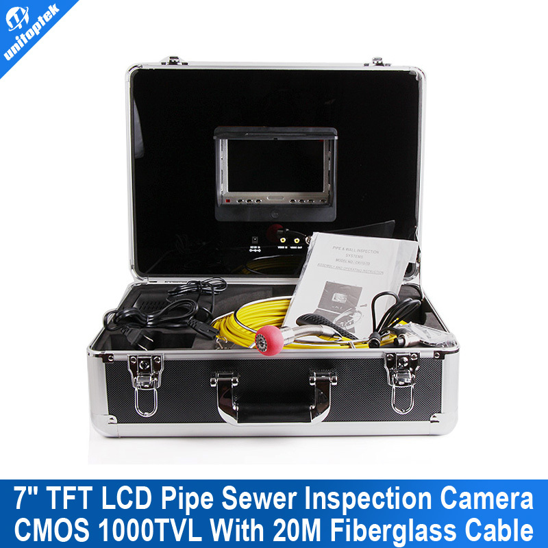 20m Cable Fiber Glass 7'' TFT LCD Waterproof Pipe Sewer Inspection Camera Color 1/3 CMOS 1000TVL 12Leds Endoscope Snake Camera(China (Mainland))