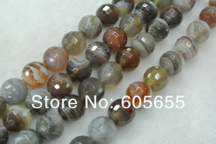 Faceted Botswana Agate 12mm Stone Round Beads 5 strands per lot Free Shipping<br><br>Aliexpress