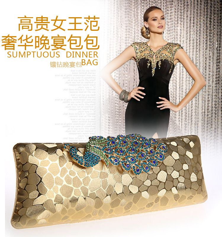 Factory New Style Women's Peacock Evening Clutch Bag/Purse Print Dot Clutch Handbag Black/Gold/Silver/Red Party/Dinner Purse(China (Mainland))