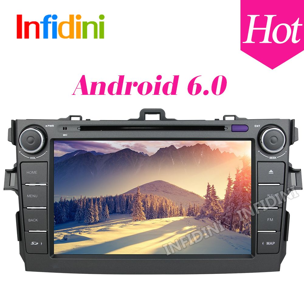 android 6.0 car dvd player for Toyota corolla 2007 2008 2009 2010 2011 in dash 2 din 1024*600 car dvd gps navigation in dash gps(China (Mainland))