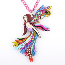 2pcs/lot colorful angel for girls & pendant necklace lovely wholesale cute figure collar acrylic woman jewelry fairy wings