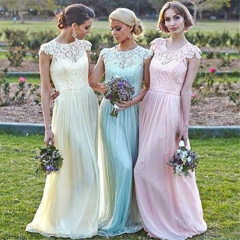 Pink And Yellow Wedding Dresses : Lace chiffon bridesmaid dresses a line cap sleeve pink