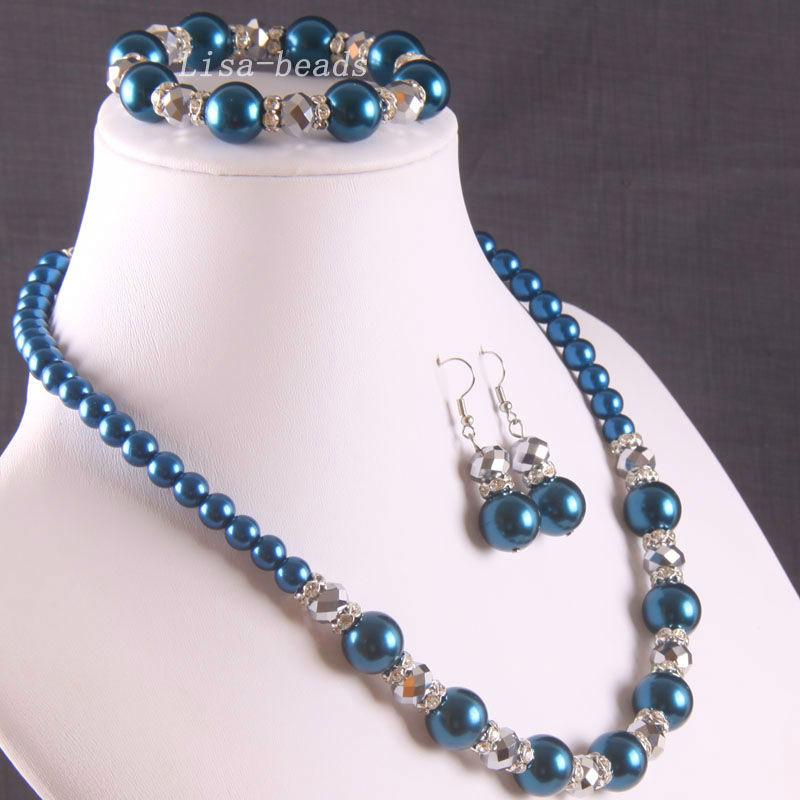 Aliexpress.com Comprar Envío gratis de la joyería azul perla oscuro cristal collar pulsera pendientes 1 Unidades E808 de collar de caja fiable proveedores