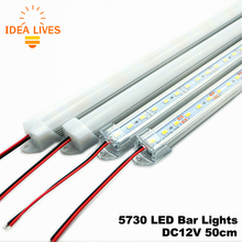 LED Bar Lights DC12V 5730 LED Rigid Strip 50cm LED Tube with U Aluminium Shell + PC Cover 5pcs/lot(China (Mainland))