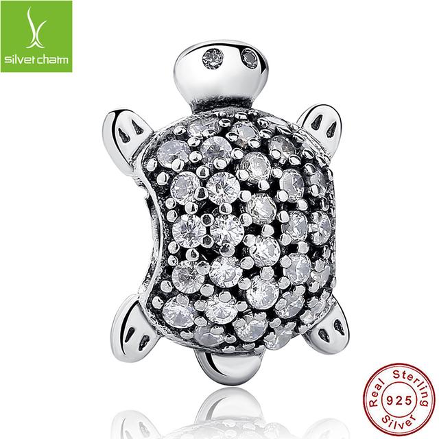 Настоящее Стерлингового Серебра 925 Sea Turtle Шарм Fit Original Pandora Браслет ...