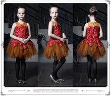 free shipping 2015 new girls sleeveless dress high-end children's princess dress gauze Party dress/stage costumes(China (Mainland))