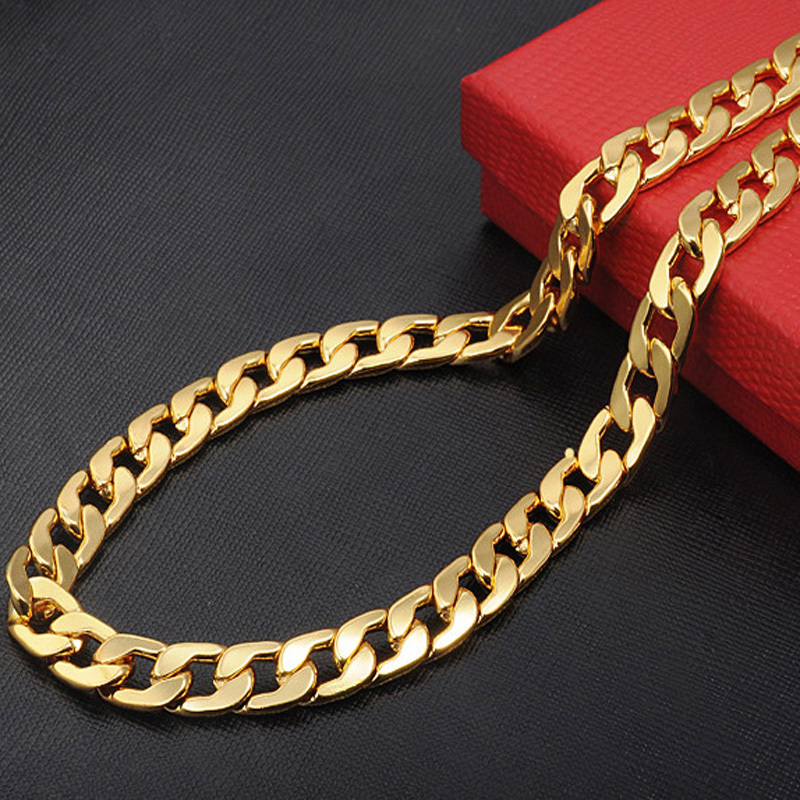 Chunky Necklaces gold chain for men 9mm fine jewelry wholesale price statement necklace 2015 herringbone snake chain necklace(China (Mainland))