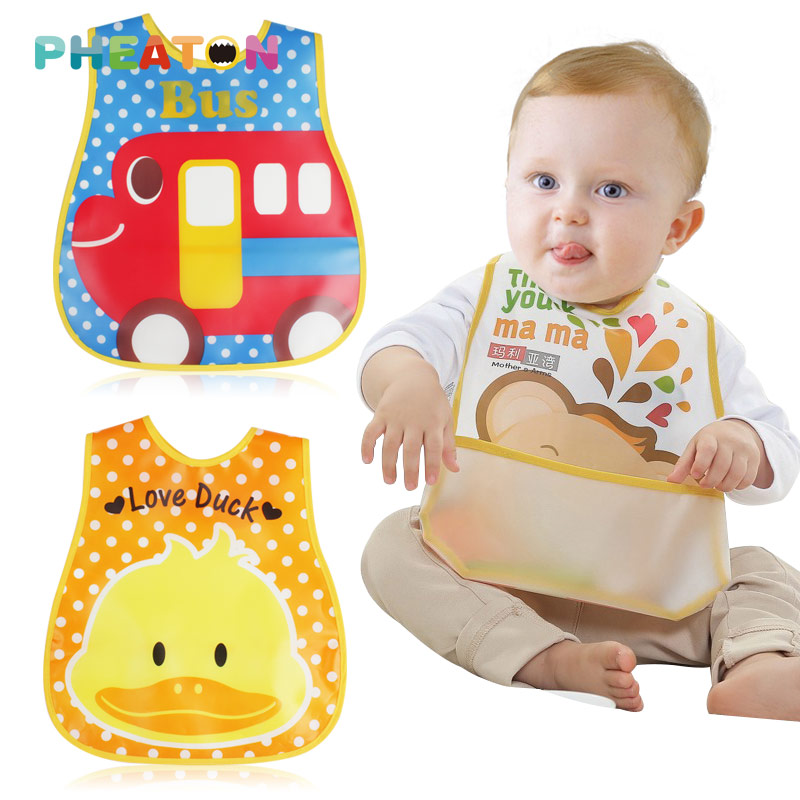 EVA Waterproof Lunch Bibs Children Self Feeding Care Burp Cloths Baby Bibs Boys Girls Infants Cartoon Pattern Bib