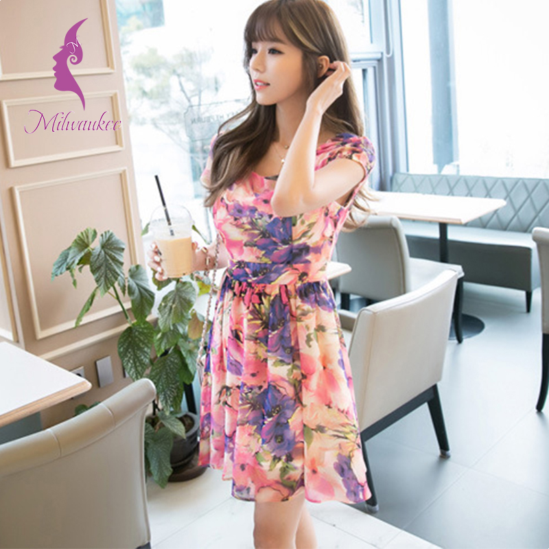 Milwaukee Printing Summer Women Dress Casual Short Sleeve Bodycon Ropa Mujer Chiffon Floral Plus Size Pleated Dress Wholesale(China (Mainland))