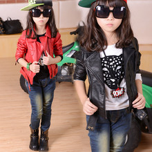 The new during the spring and autumn outfit 2015 girls fur coat cuhk children's garment pure color tide thin PU leather jacket