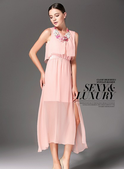 2014 Summer Europe America Bohemian sleeveless dress Women's Dress,dress , Black, blue,pink, - Just Me store
