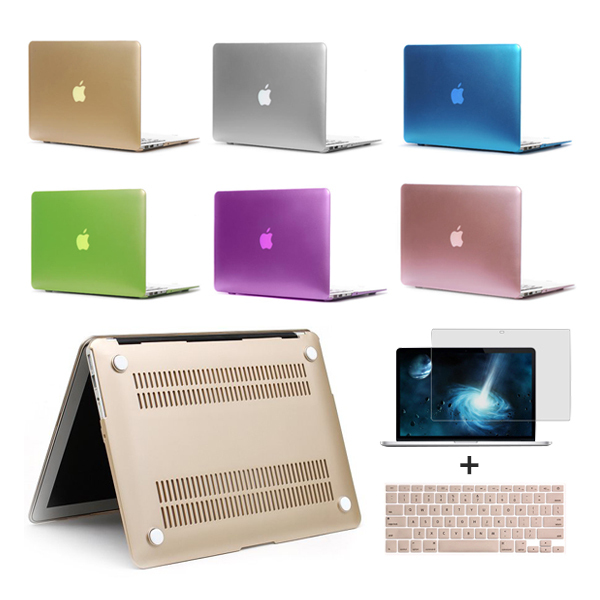 New Matte Case For Apple Macbook Air Pro Retina 11 13 15 Laptop Bag For Macbook 13.3 inch+Gold Keyboard Cover+Film Free Shipping(China (Mainland))
