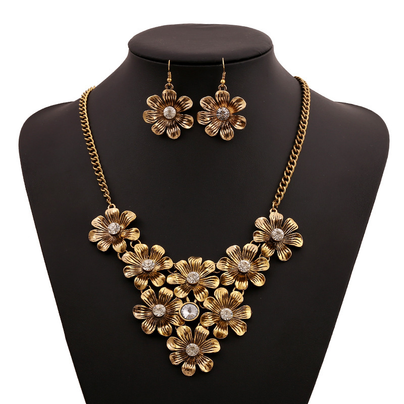 Fashion Trendy Daisy Flowers Set Auger Hand-made Ornaments Link Chain Chokers Necklaces & Drop Earrings Jewelry Sets Accessories(China (Mainland))