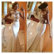 Buy 2017 Ivory Mermaid Wedding Dresses Appliqued Sheer Lace Brush Train Formal Gowns for $130.00 in AliExpress store