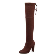 DoraTasia Thương hiệu mới của phụ nữ giày nữ giày lớn Size 33-46 thu đông quá đầu gối Giày cao gót gợi cảm Đảng Giày nữ(China)