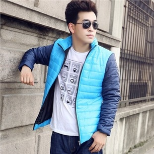 Men new winter leisure bump color stitching cotton-padded jacket collar cultivate one's morality hot + - xxschyllwyl store