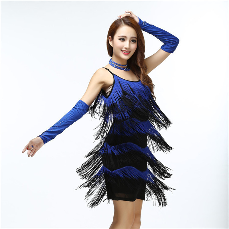 2016 Ladies Cocktail&Club Latin Dance Party Asymmetric Fringe O-Neck Hot City Popular Dress Free Shipping(China (Mainland))
